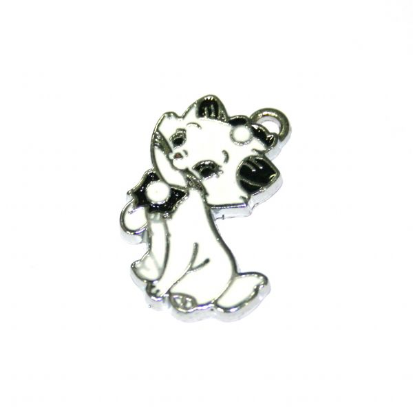 1 x 22*19mm rhodium plated black / white cat enamel charm with rhinestone - S.D03 - CHE1204